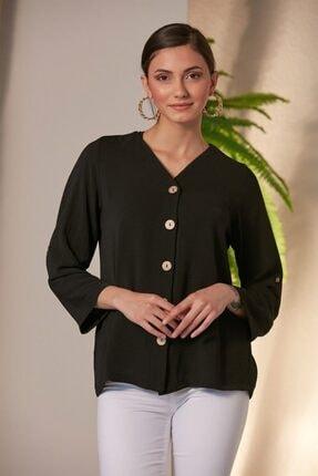 RMG Kadın Siyah Düğme Detaylı Gömlek