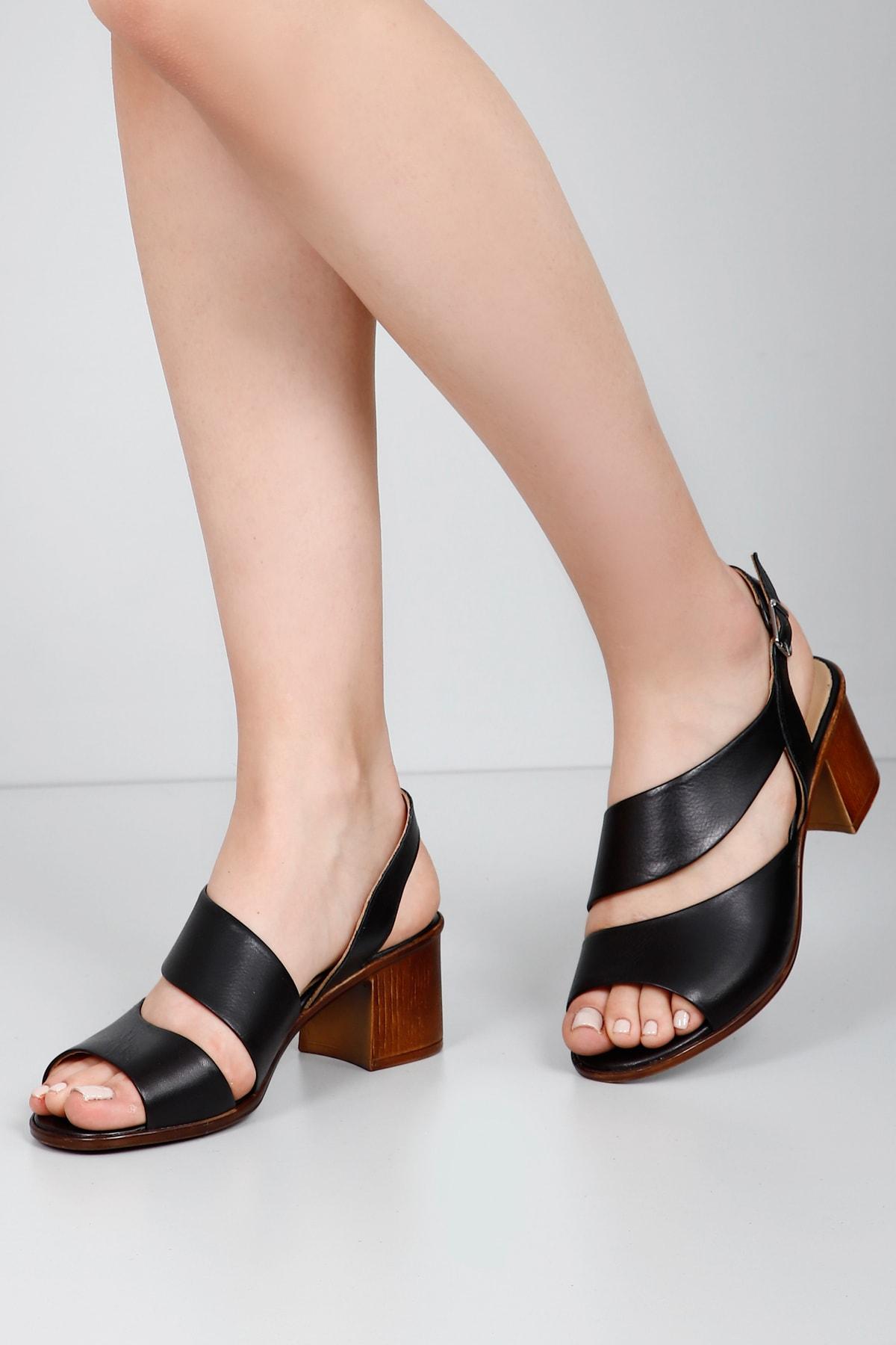 G.Ö.N Gön Hakiki Deri Kadın Sandalet 45632 1
