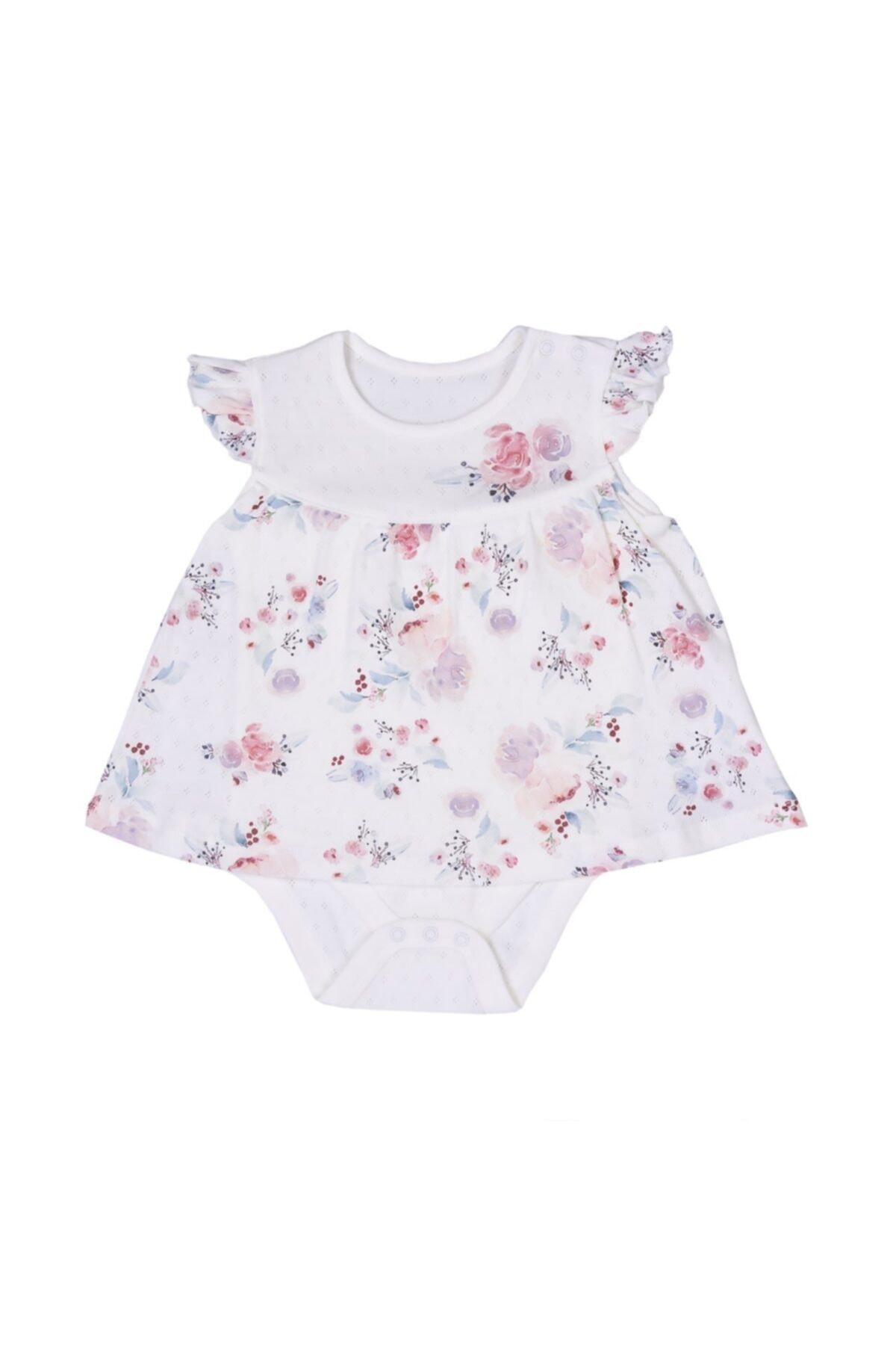 kitikate Kız Bebek Ekru Organik Çiçekli Jile Body 1