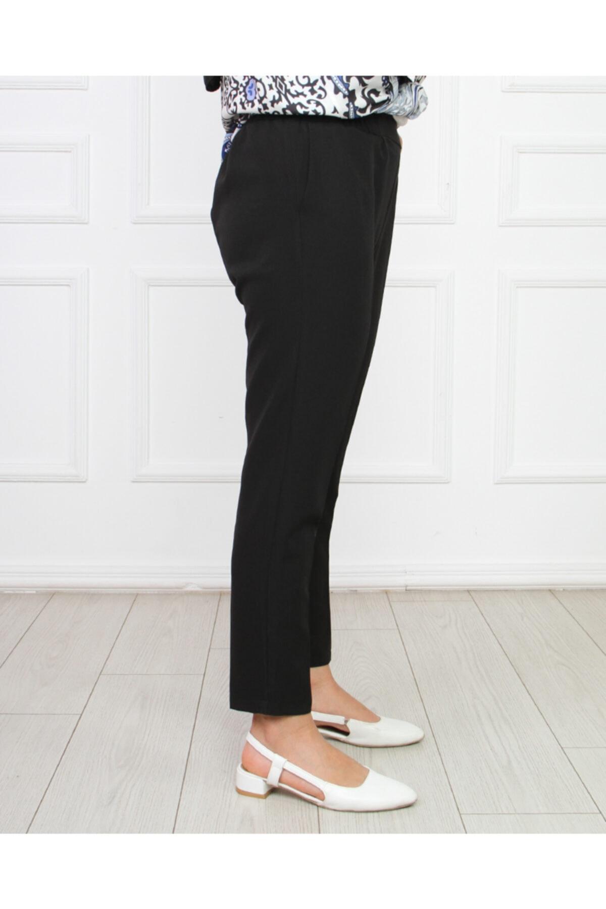 Hüma Sultan Kadın Siyah Kalem Bel Lastik Pantolon Pnt-2004 2