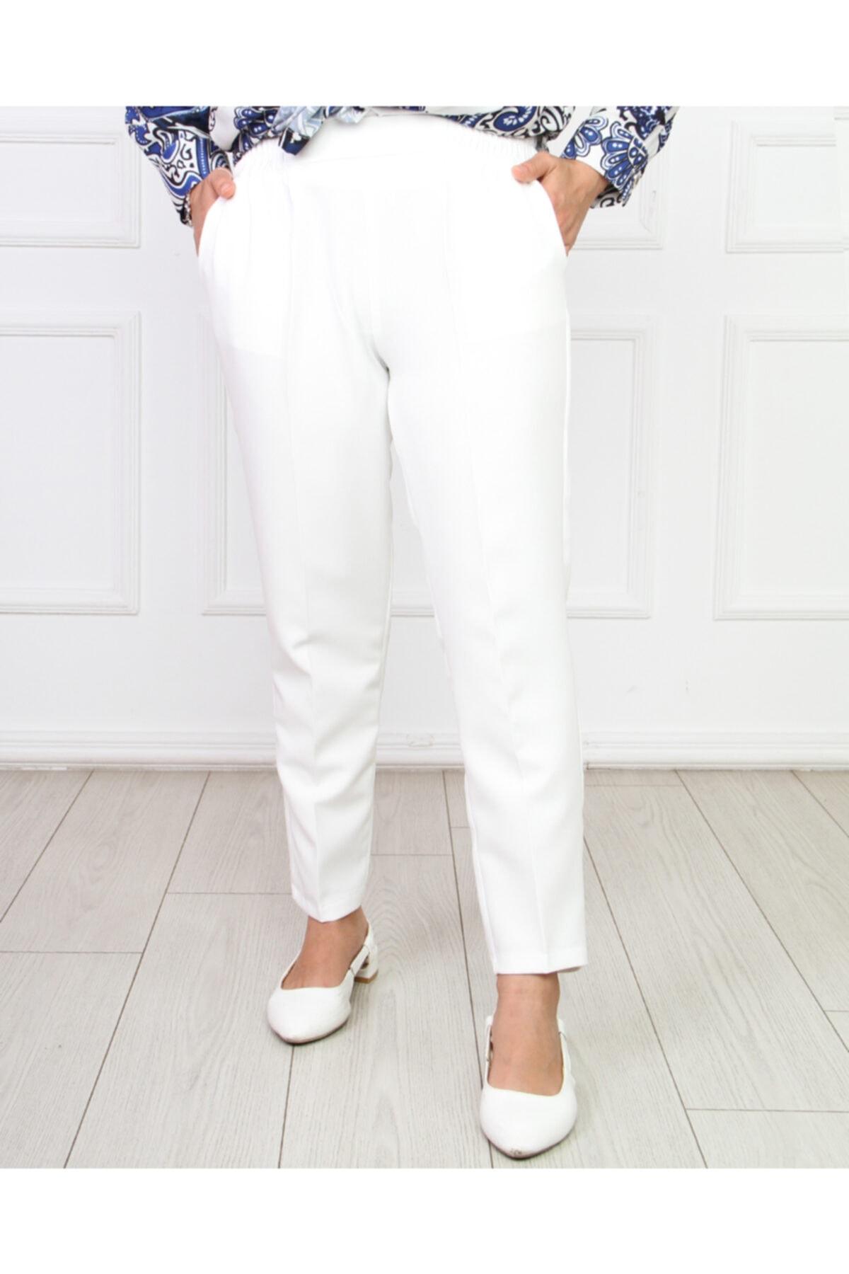 Hüma Sultan Kadın Beyaz Beli Lastikli Kalem Pantolon 1