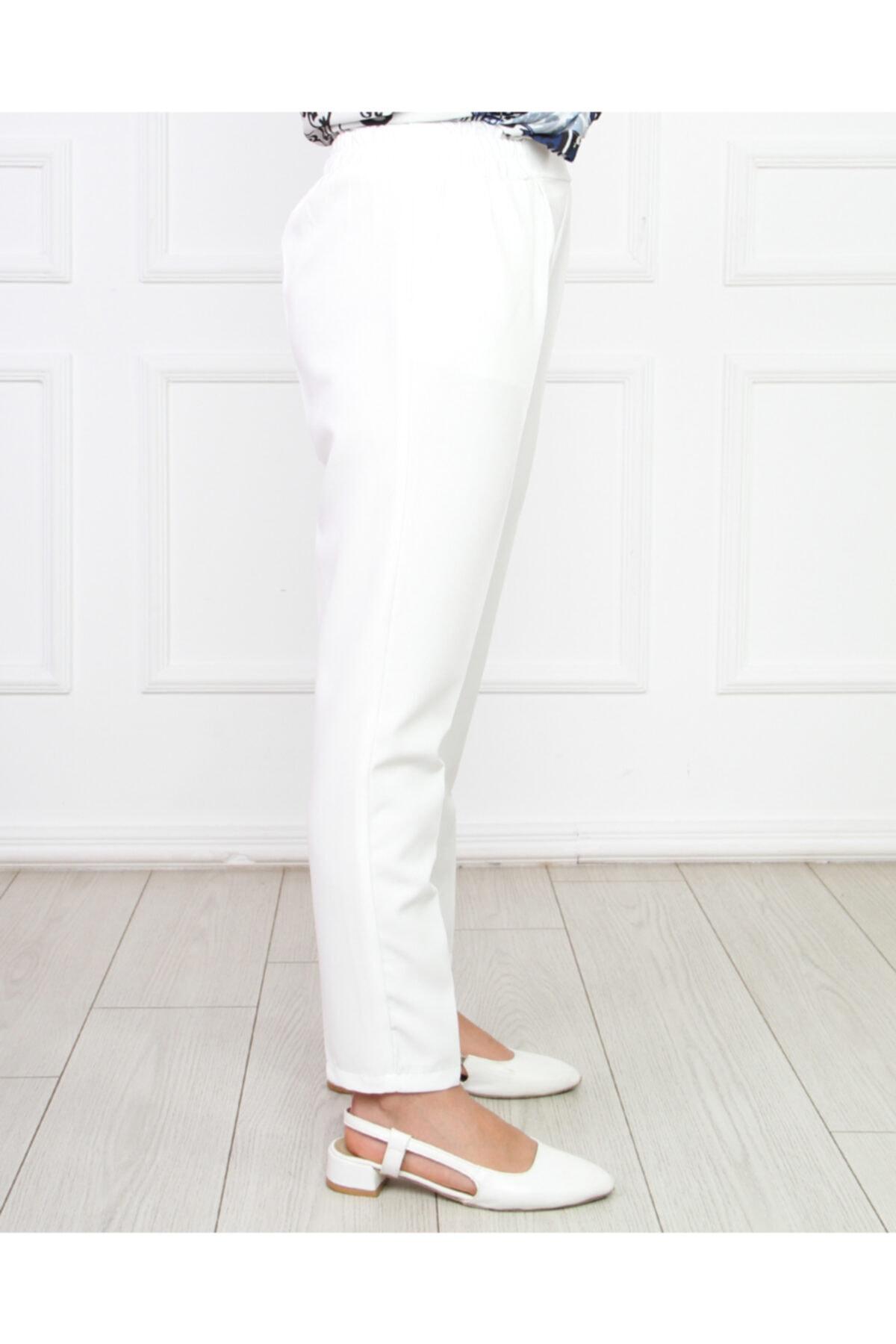 Hüma Sultan Kadın Beyaz Beli Lastikli Kalem Pantolon 2