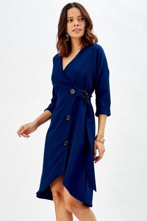 Sense Düğmeli Ofis Elbisesi Lacıvert
