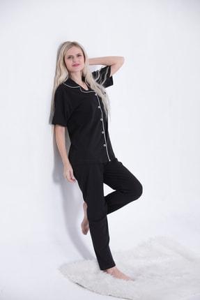 Pijama Denizi Siyah - Saten Biyeli Lüks Pamuklu Likralı Kısa Kollu Gömlek Yaka Düğmeli Pijama Takımı