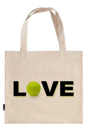 Mespho Tenis Topu Love 45x40 Cm. Baskılı Ham Bez Çanta