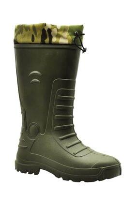 GEZER Kauçuk Avcı Çizme Uzun Çıkarılabilir Çoraplı Kamuflaj Desen Boğazlı Konçlu