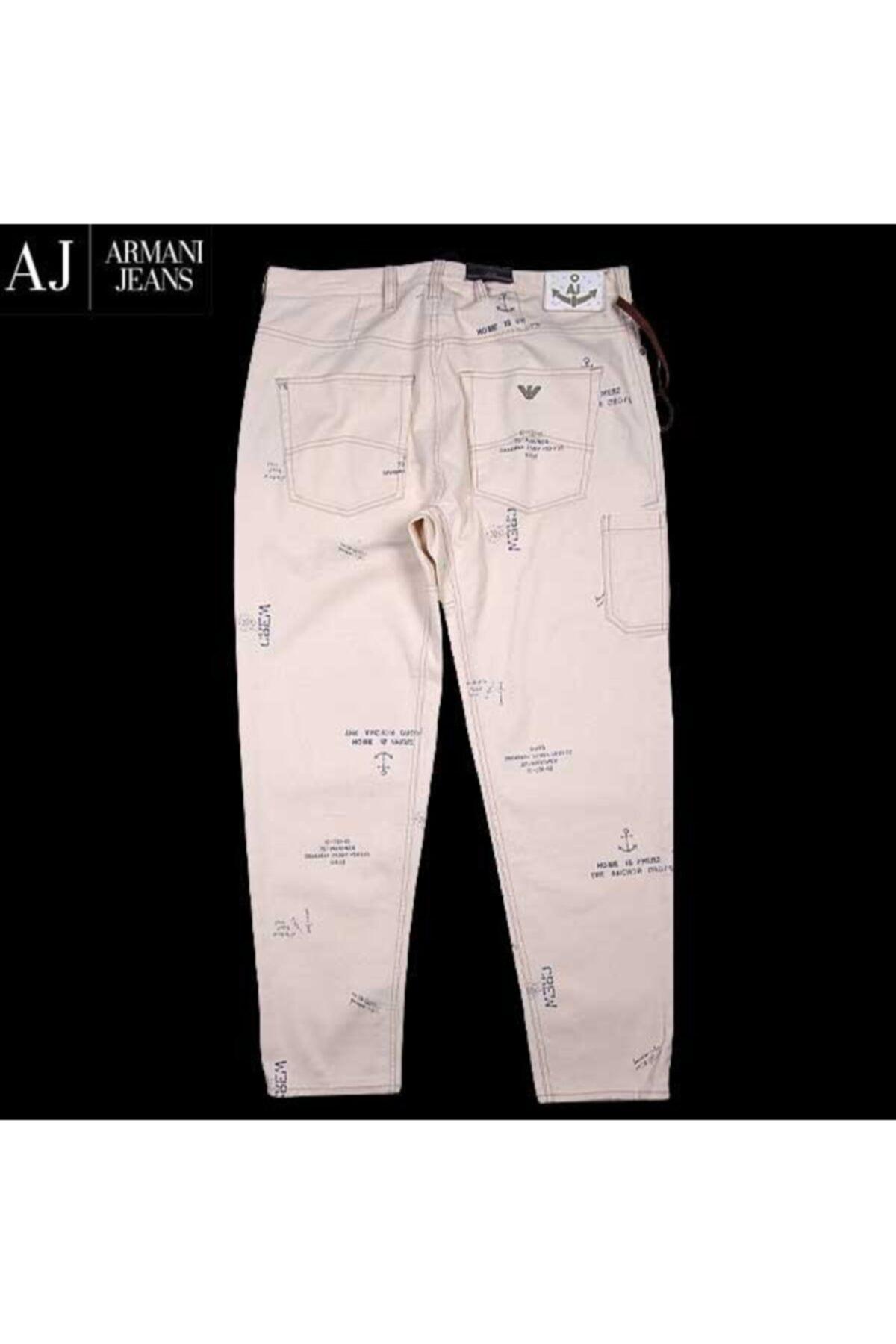 Armani Jeans Armanı Jeans Erkek Beyaz Baskılı Jeans Pantolon 2