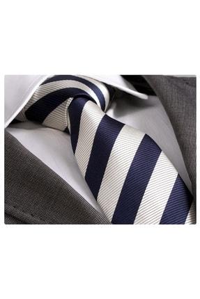 Exve Exclusive Lacivert Gümüşi Çizgili Kravat^|en_us:navy Silver Striped Handmade Necktie