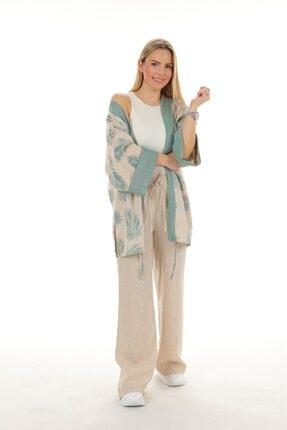 Oblavion Kadın Haki Emprime Desenli Kimono Takım