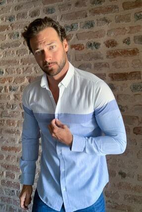 TRENDYOL MAN Beyaz Erkek Slim Fit Uzun Kollu Panelli Gömlek TMNSS20GO0460