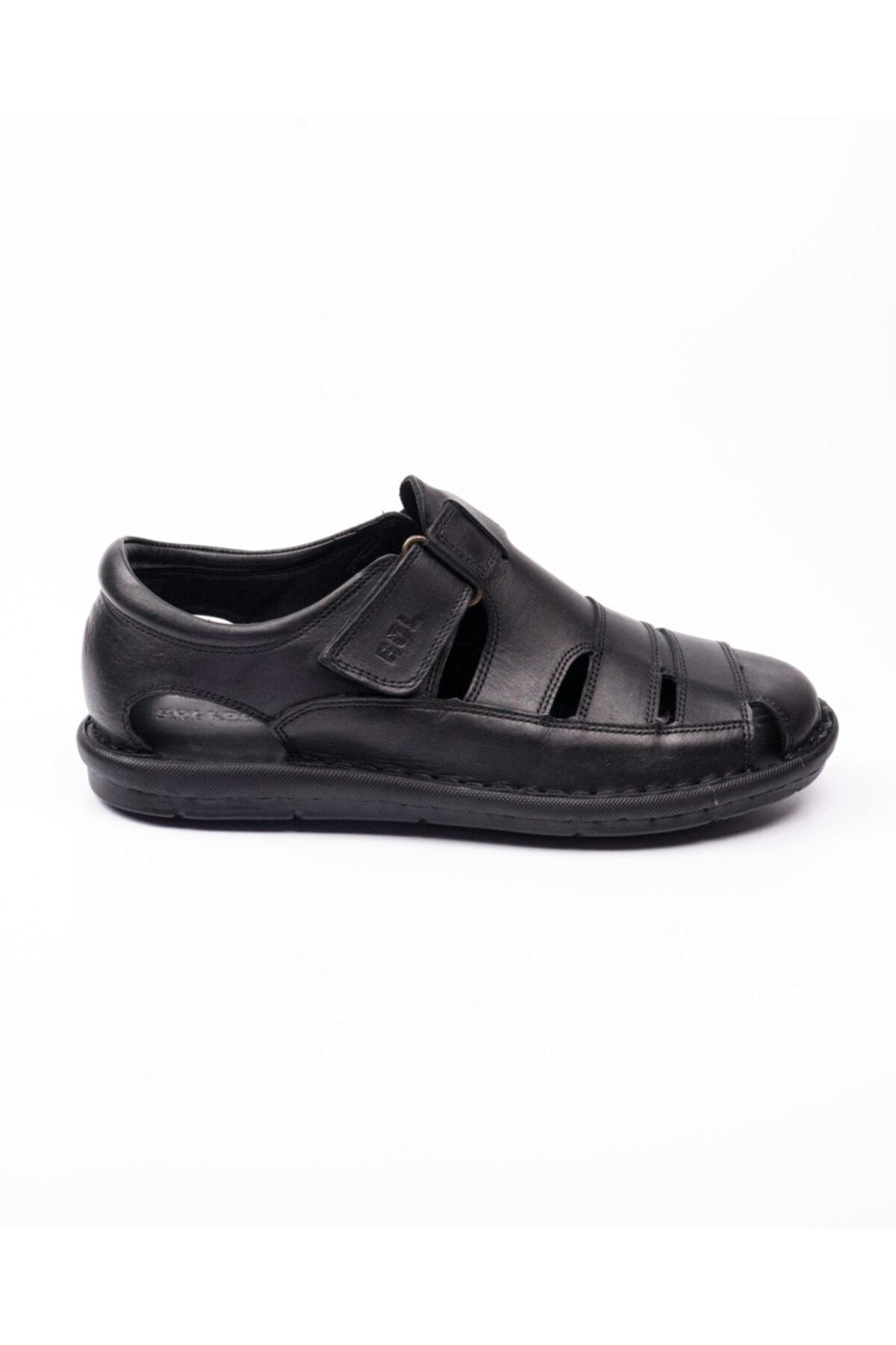Bulldozer 201843 Siyah Deri Erkek Sandalet Siyah-44 2