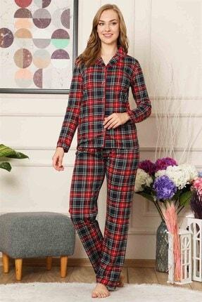 ALİMER Bayan Yazlık Uzun Kollu Pijama Takımı Önden Düğmeli Ekose Desen