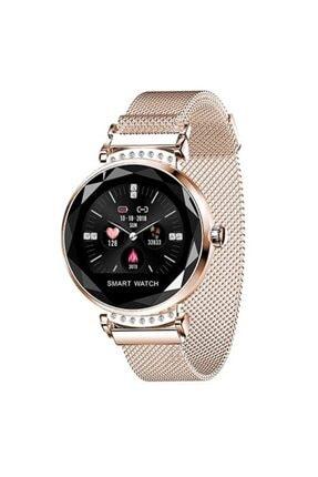 Mopal H1 Metal Kordon Bayan Akıllı Saat Smart Watch Bileklik Sarı