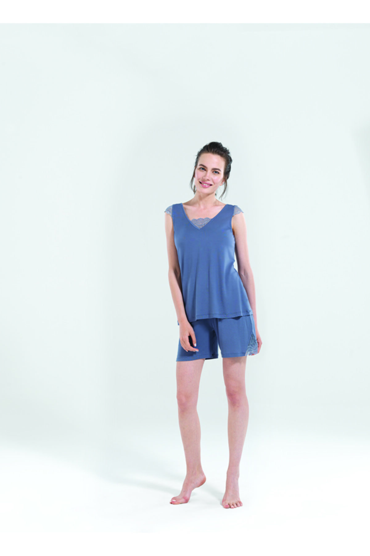 Blackspade Kadın Kısa Pijama Takımı 50124 - Antrasit 1
