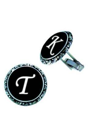 OltutaşıMarket Erkek Siyah El Işi Harfli Gümüş Kol Düğmesi