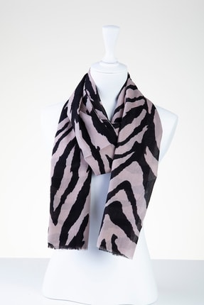 Akel Kadın Ekru Zebra Desenli Pamuk Şal