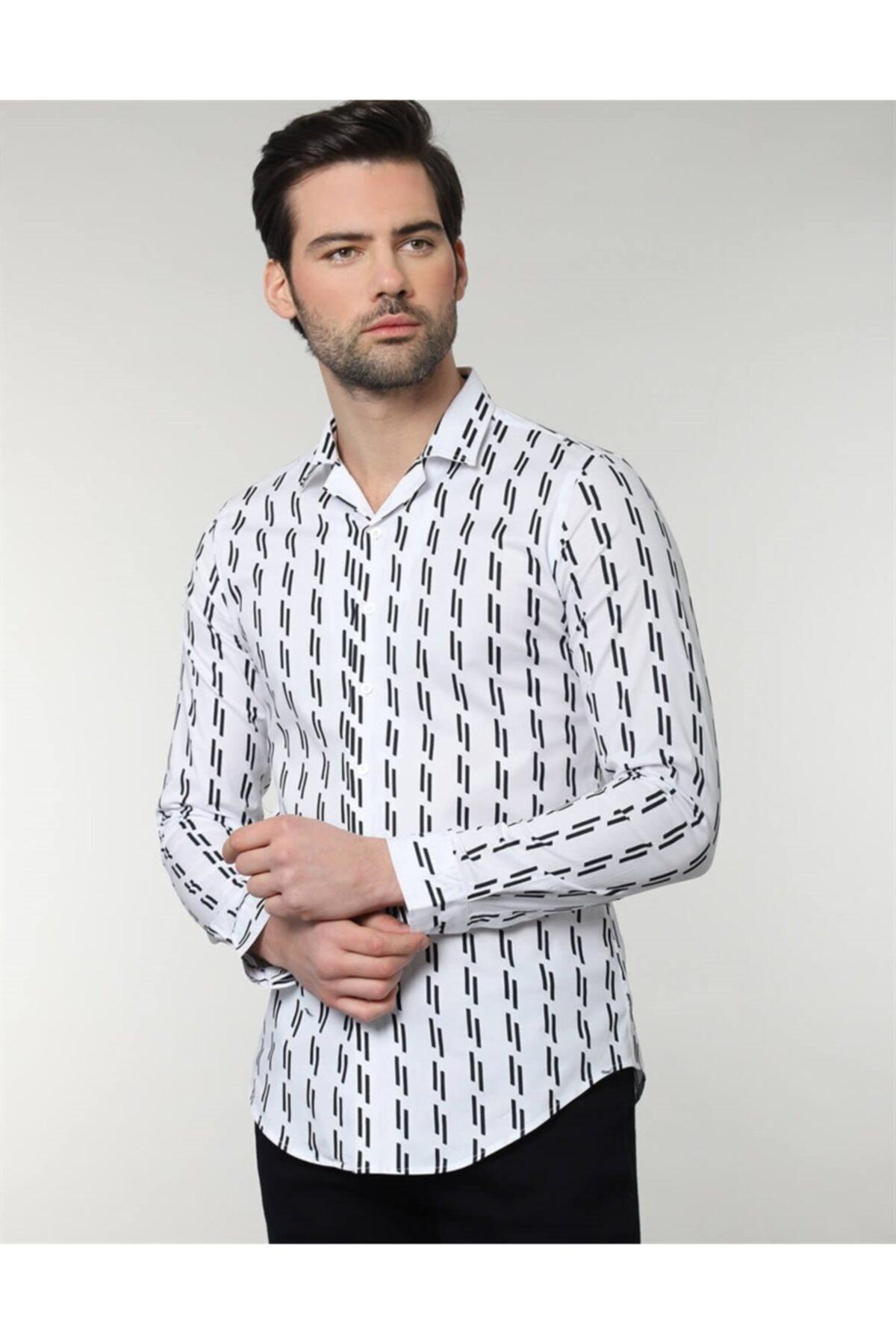 Tudors Erkek Slim Fit Desenli  Gömlek 1