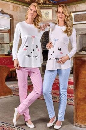 Berrak Pembe Bayan Uzun Kollu Lohusa Pijama Takımı 394