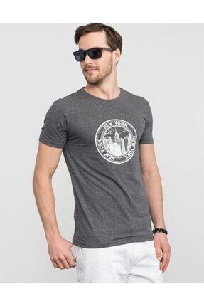 Tudors Erkek Gri Slim Fit Bisiklet Yaka Baskılı T-shirt