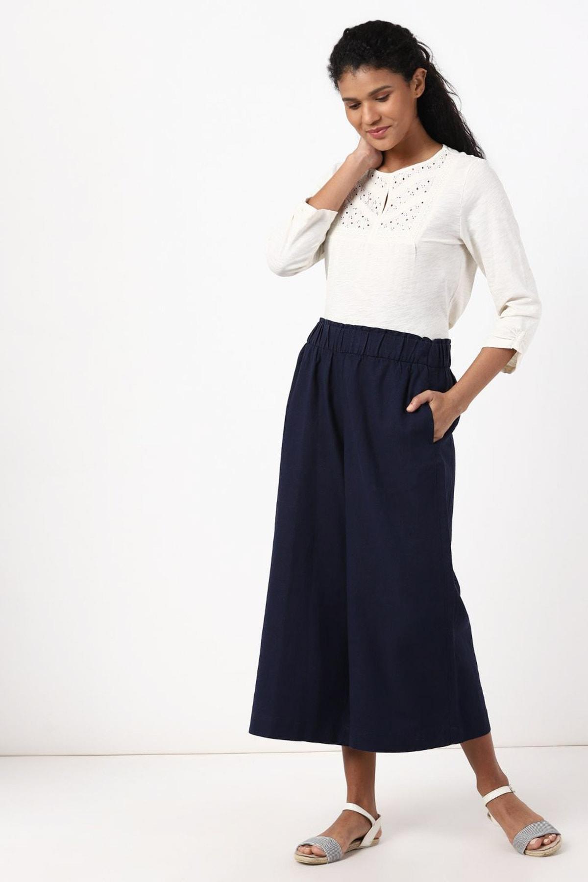 Marks & Spencer Kadın Lacivert Wide Leg Crop Pantolon T57007128X 1