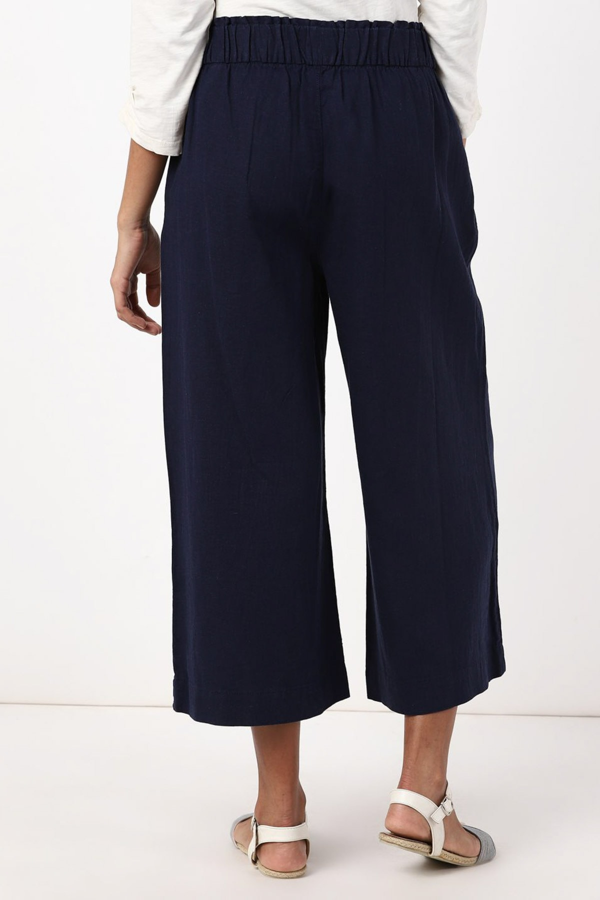 Marks & Spencer Kadın Lacivert Wide Leg Crop Pantolon T57007128X 2