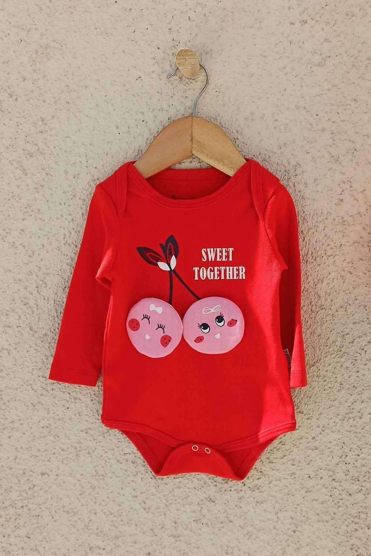 Miniworld Kız Bebek Kırmızı Kiraz Figürlü Şapkalı Takım 2