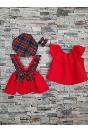 MODA Bebek Kırmızı Ekoseli Salopet Takımı