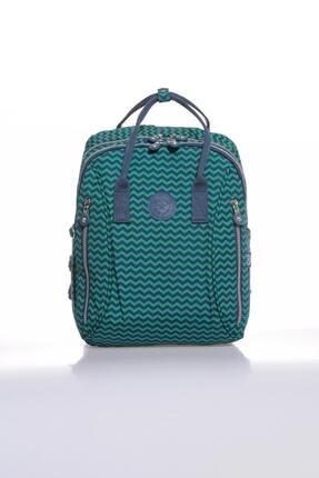 SMART BAGS Kadın Lacivert Yeşil  Smb1220-0066  Sırt Çantası