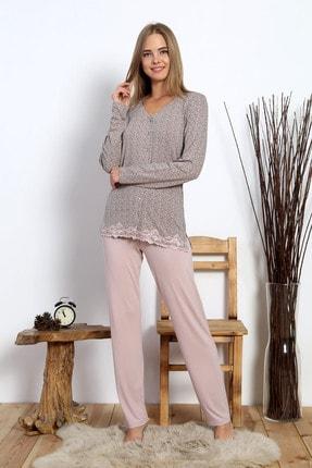 VİENETTA Kadın Viskon Düğmeli Dantelli Pijama Takım