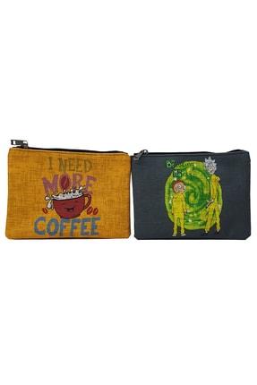 MODAZEY Rick And Morty & Kahve Desenli Düzenleyici & Makyaj Çantası Seti