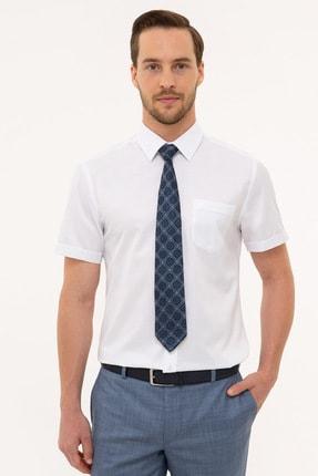 Pierre Cardin Erkek Beyaz Regular Fit Basic Kısa Kollu Gömlek