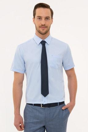 Pierre Cardin Erkek Açık Mavi Regular Fit Basic Kısa Kollu Gömlek
