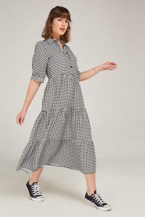 Appleline Siyah Pötikareli Düğme Detaylı Elbise