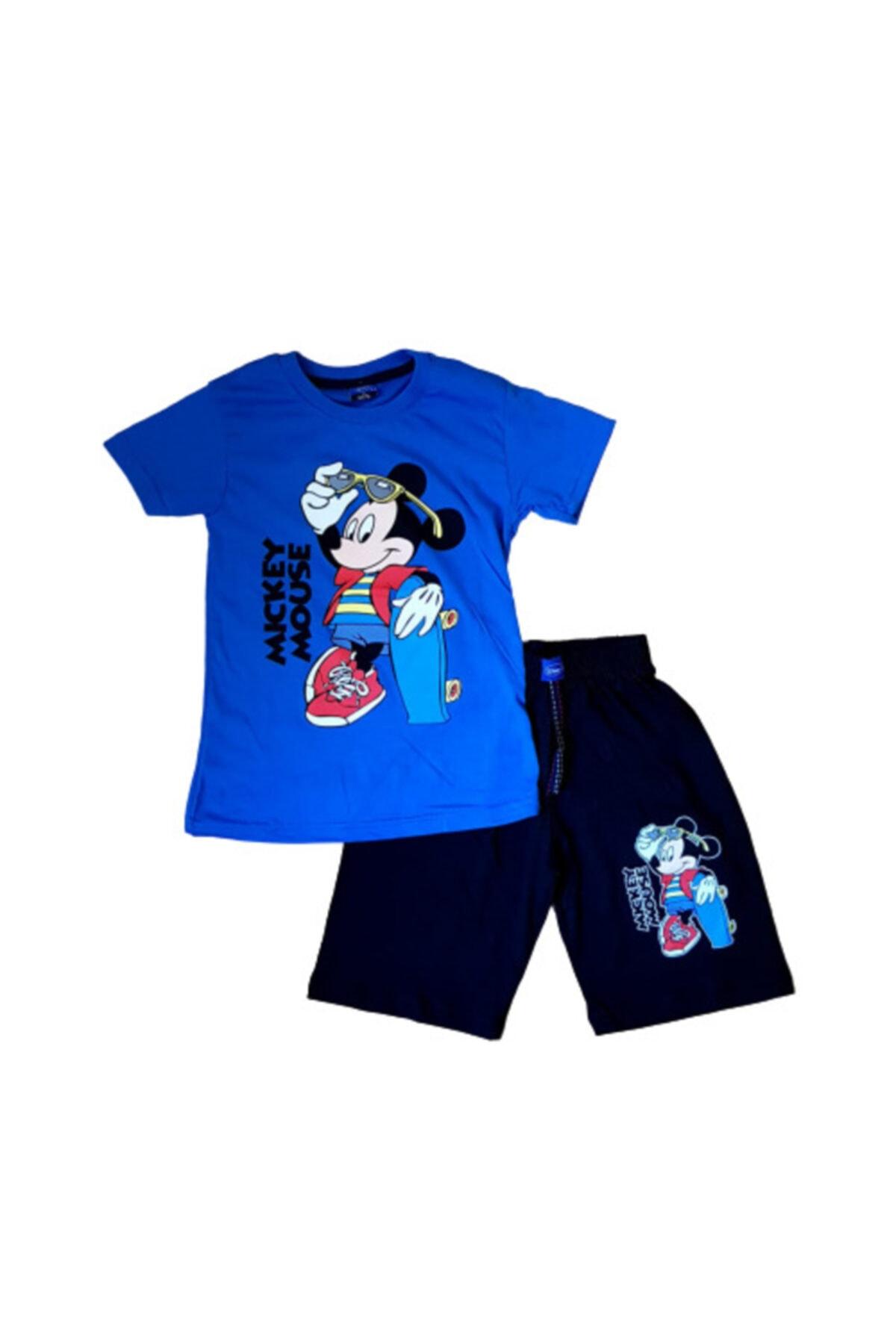 Mickey Mouse Baskılı Şort Tişört Alt - Üst Takım 1
