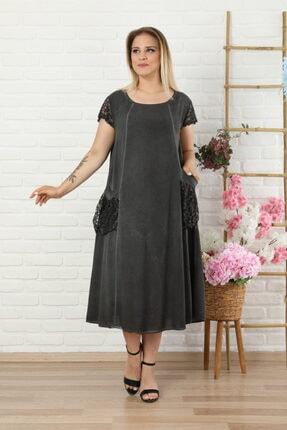 LİKRA Kadın Antrasit Büyük Beden Kolu Cebi Güpür Detay Lı Yıkamalı Viskon Elbise