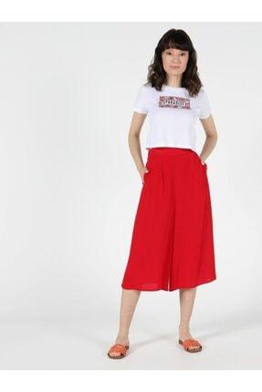 Colin's Regular Fit Yüksek Bel Geniş Paça Kadın Kırmızı Pantolon