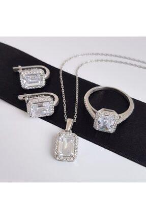 Gümüş Pazarım Baget Taşlı Emerald Kesim Gümüş Set