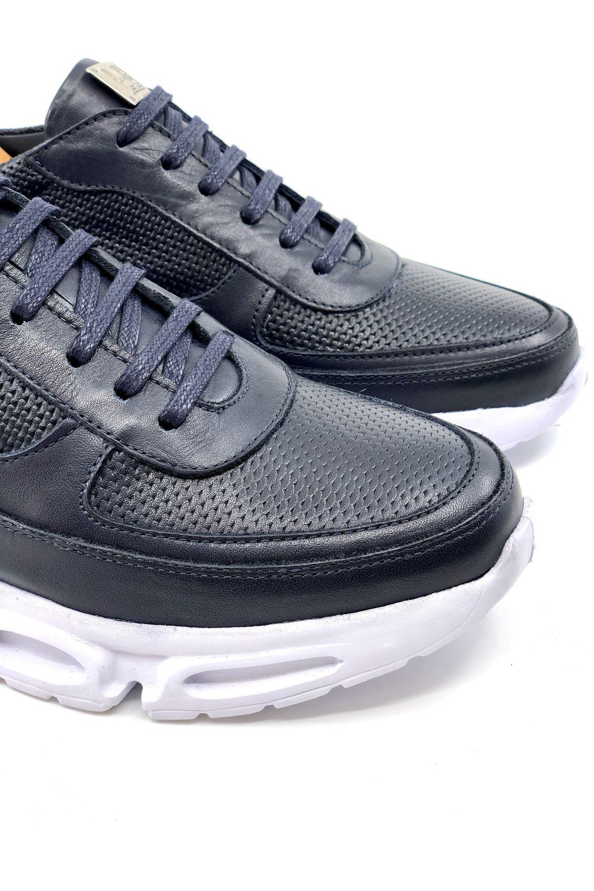 TETRİ Erkek Lacivert Hakiki Deri Sneaker 2