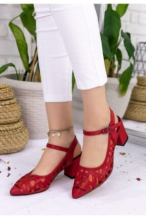 pabucmarketi Kırmızı Cilt Topuklu Ayakkabı