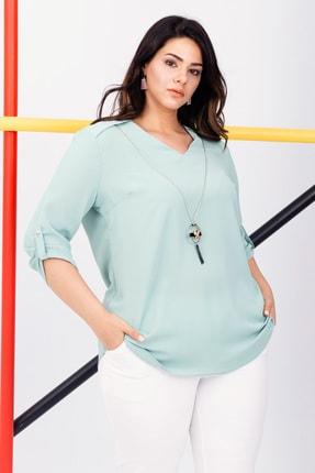 Lafaba Kadın Mint Yeşili V Yaka Kolyeli  Abiye Bluz 20YBB3693