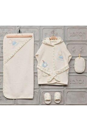 Bebitof Erkek Kız Bebek Bornoz Seti 0-3 Yaş 456
