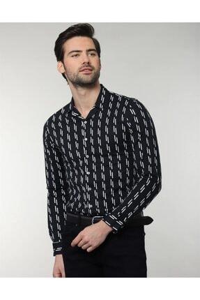 Tudors Erkek Siyah Slim Fit Likralı Spor Gömlek