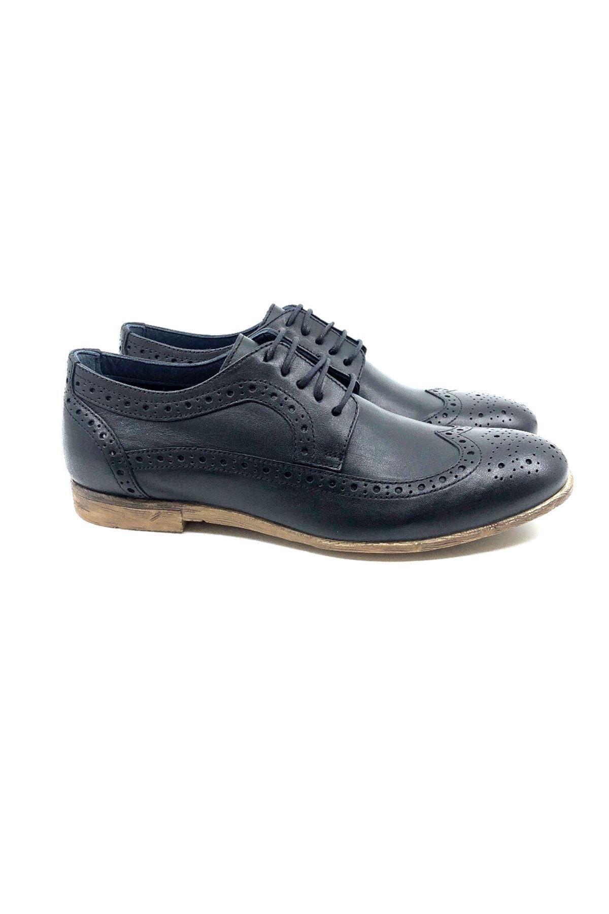 TETRİ Siyah Hakiki Deri Klasik Ayakkabı 1