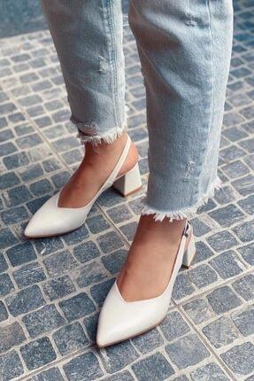 STRASWANS Kadın Beyaz Topuklu Deri Ayakkabı-Hanna