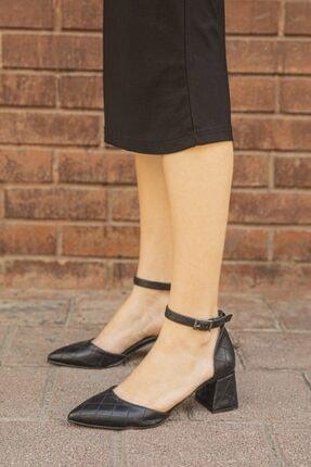 STRASWANS Kadın Siyah Deri Kapitoneli Topuklu Ayakkabı-Holly