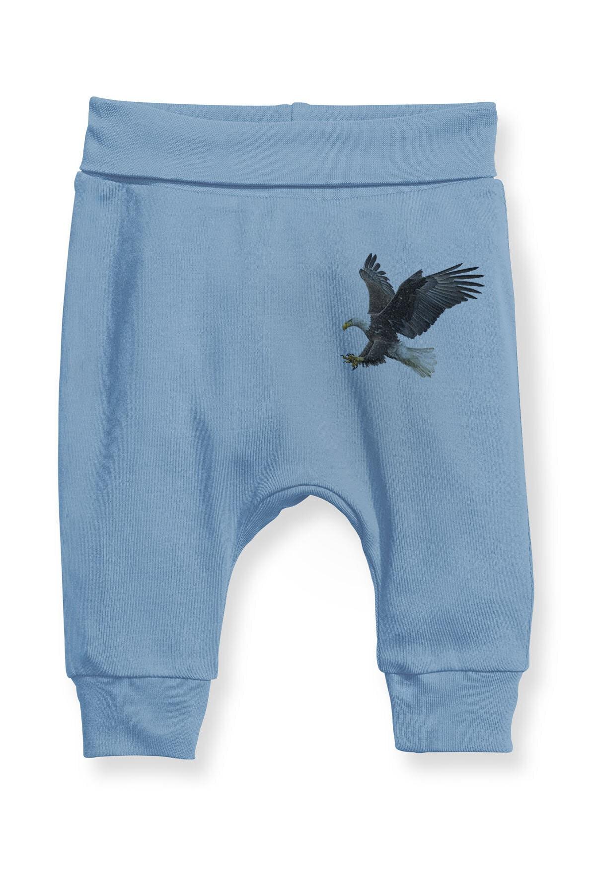 Angemiel Erkek Bebek Mavi Şahin Baskılı Şalvar Pantolon 1