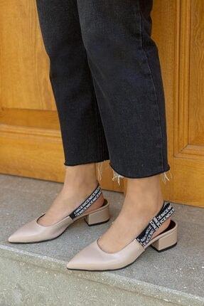 STRASWANS Kadın Bej Brand Deri Topuklu Ayakkabı