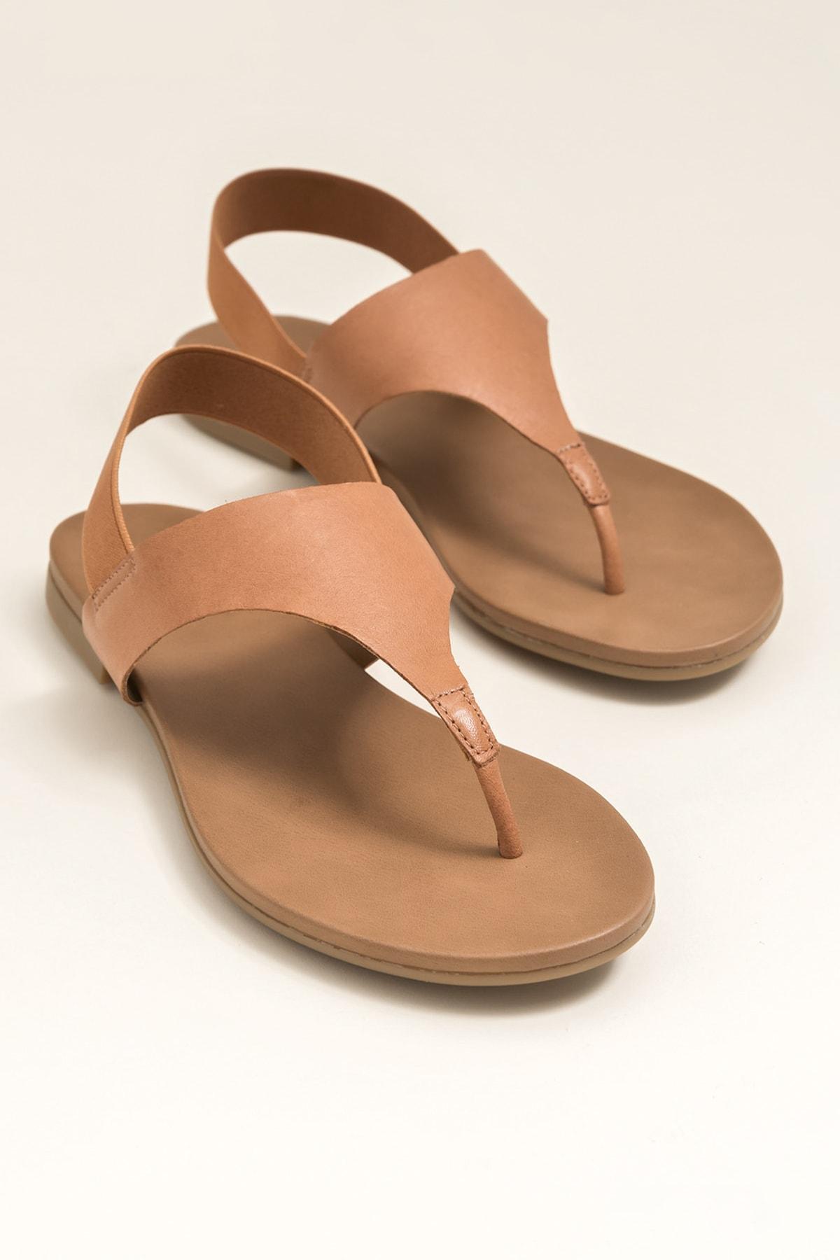 Elle Shoes ERTHA Hakiki Deri Taba Kadın Sandalet 1