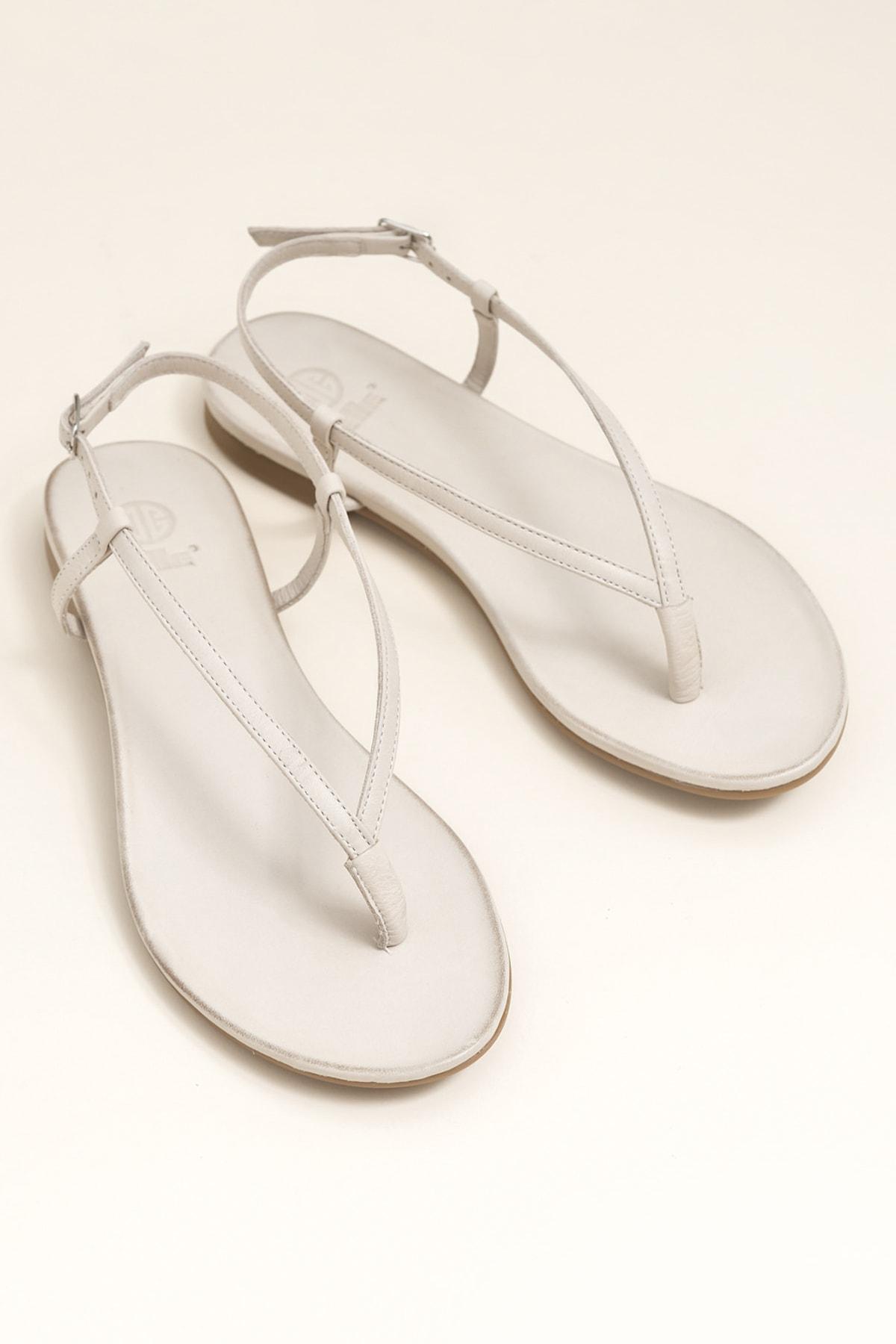 Elle Shoes MANISHA Hakiki Deri Kemik Rengi Kadın Sandalet 1