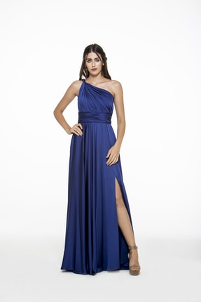 MAXXE Kadın Sax Helen Tek Omuz Saten Elbise 4923ST